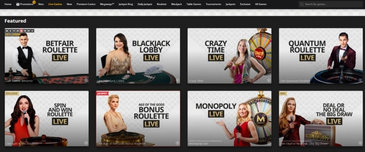betfair live casino main page and lobby