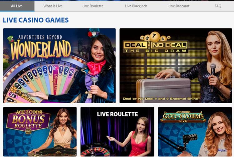 bgo live casino homescreen