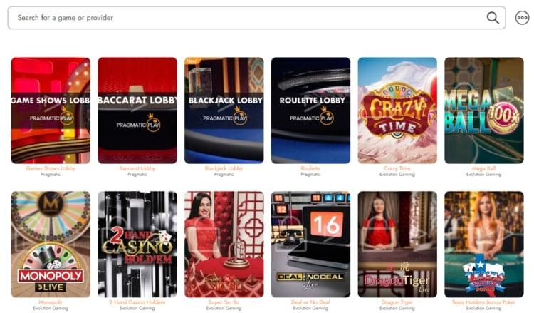 casimba live casino main interface