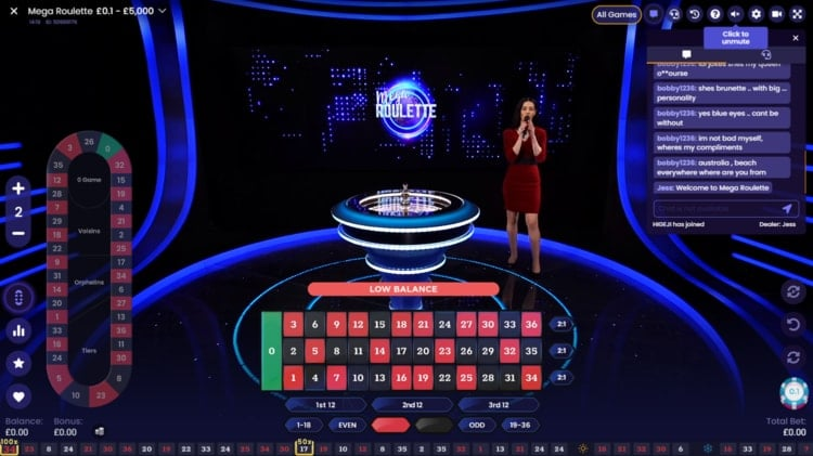 casimba live roulette table