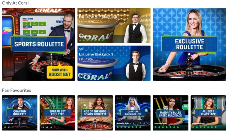 coral live casino games interface