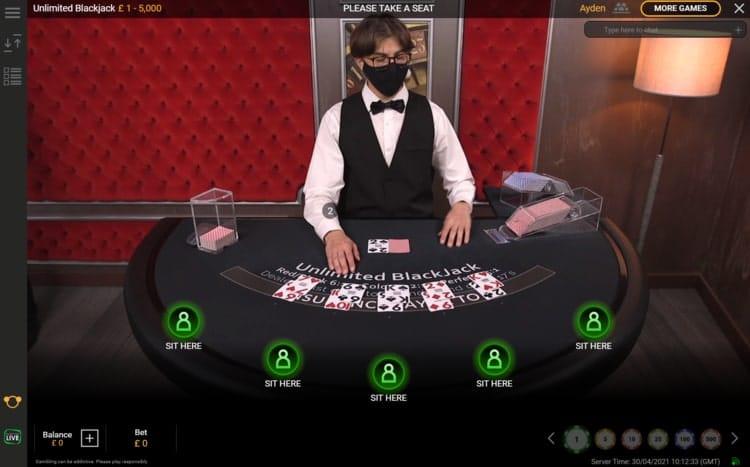 mansion casino live blackjack table