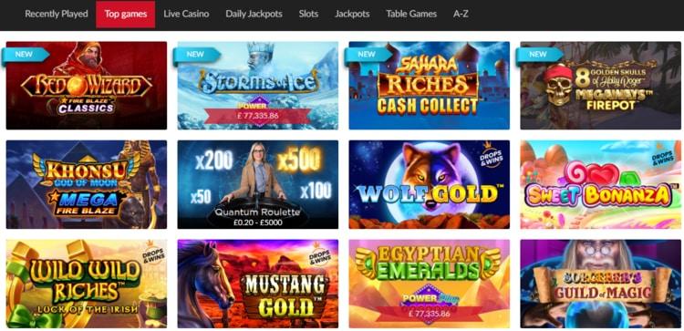 mansion top casino games list