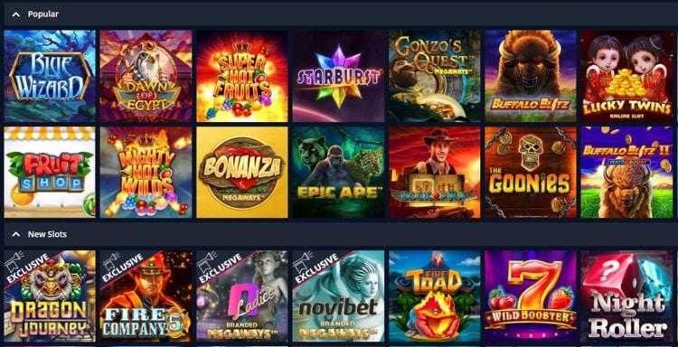 novibet casino list of top games