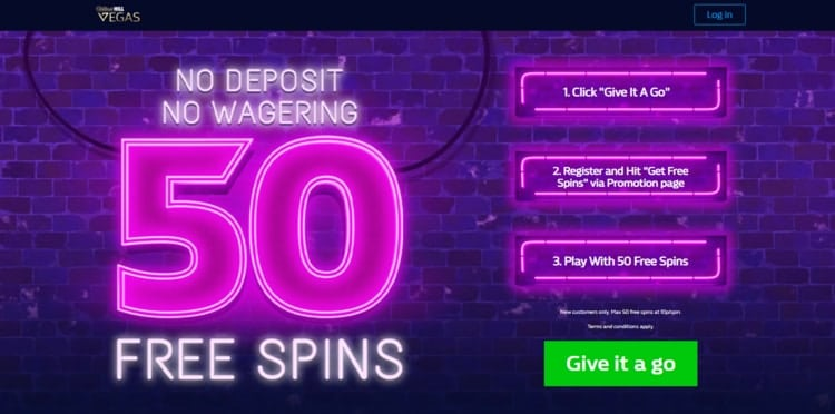 william hill vegas 50 free spins welcome bonus for new players