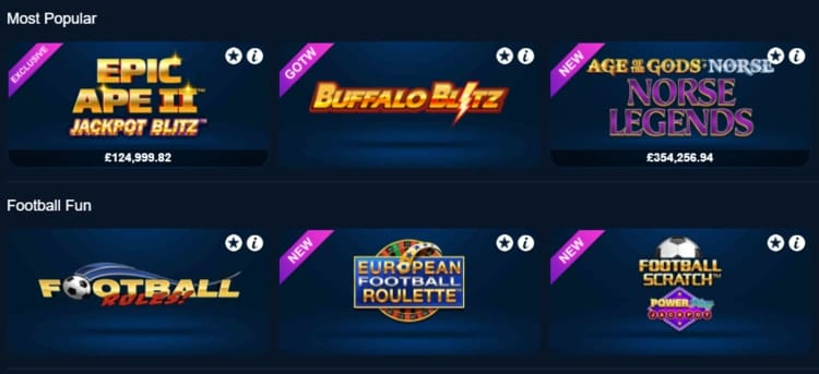 betfred casino top games