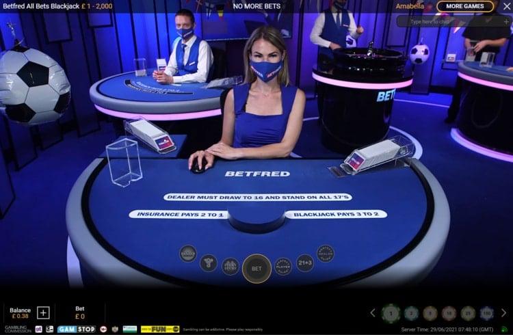 betfred live blackjack table