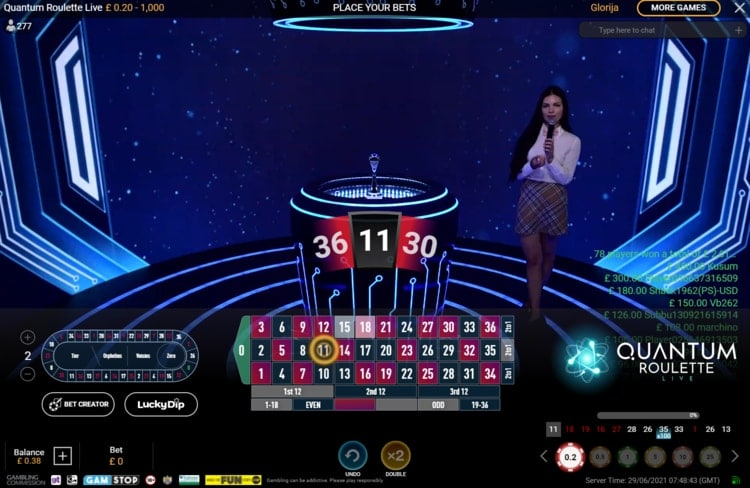 betfred live roulette table
