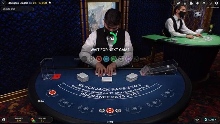 duelz casino live blackjack table