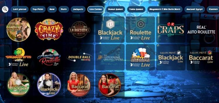 duelz live casino games lobby