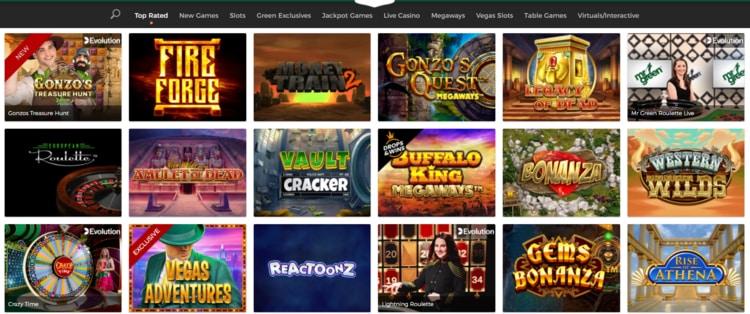 mr green top casino games